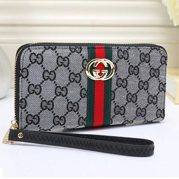 Perfect  Gucci Women Leather Zipper Purse Wallet