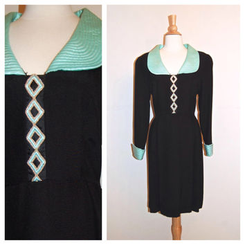 80s Richilene Dress . 1980's Black and Seafoam Green . size L