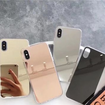 Gold Luxury Plating Bling Soft Mirror Case For iPhone 7 8 Plus 6 6s Plus X 5 5S Soft Clear TPU Cover For iPhone X 8 7 6 6S Plus
