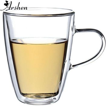 Arshen Big Promotion! Durable 350mL Clear Handmade Heat Resistant Double Wall Glass Tea Coffee Drink Mug Perfect Craft Gift