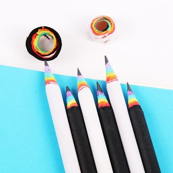 5PCS/lot Simple Rainbow Pencil Black White Writing Drawing Standard Pencils School Supplies Stationery Student Gift Papeleria