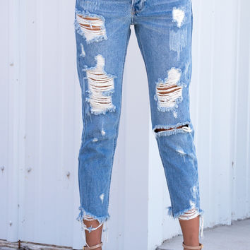 All Torn Up Distressed Cropped Jeans