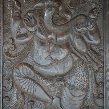 Antique Vintage Hand Carved Panel Dancing Ganesha on Lotus Wall Hanging, Door Panel Zen Interior Design