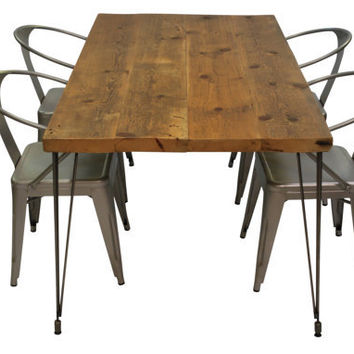 Modern Table with reclaimed wood top and Hairpi...