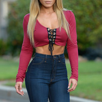 Scoop Neck Lace-up Front Long Sleeves Crop Top