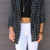 Camden Harbor Black & White Plaid Oversized Button Down Blazer