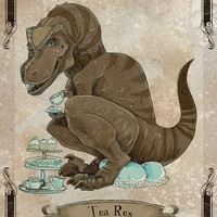 Tea Rex steamPUNk dinosaur print 5x7 by theGorgonist on Etsy