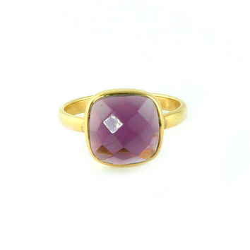 Amethyst Quartz Cushion Ring