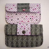 Matching Clutches Set of Two  in Charcoal and White with Purple