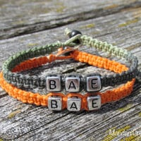 Bracelets for Couples, Camo and Bright Orange, BAE, Before Anyone Else, Macrame Hemp Jewelry