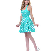 Mint & White Polka Dot Halter Dress - Unique Vintage - Prom dresses, retro dresses, retro swimsuits.