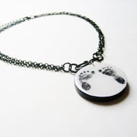 Mothers Day Jewelry - Baby Footprint Remembrance Necklace Made to Order - Memorial Jewelry - Custom Photo to Painting