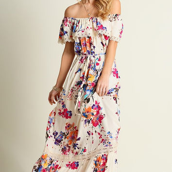 Boho Floral Maxi Dress  - Pink and Royal