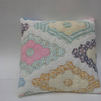 Vintage Quilt Pillow Cover Grandmother's Flower Garden Upcycled 16 X 16