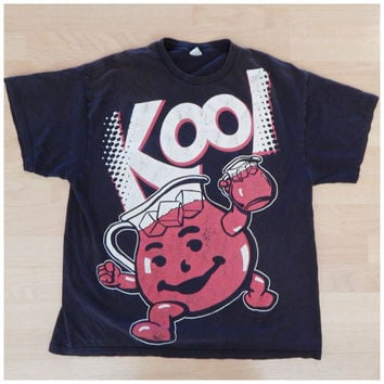 Vintage Graphic T Shirt Black Kool Aid Man Oh Yea Cherry 100% Cotton XLarge