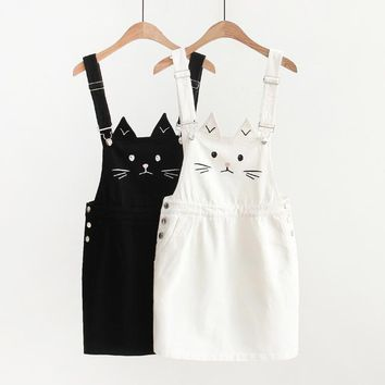 2018 Women Denim Skirts Harajuku Cute Cat Cartoon Embroidery Denim Suspender Skirt High Waist Mini Skirts Female #A039