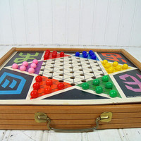 Vintage Wood Checkers & Chinese Checkers Board in Double Sided Wooden Travel Case - Complete Original Retro Playing Pieces Made In Japan Set