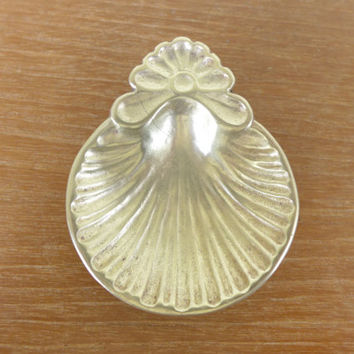 Tiny footed brass shell dish, incense cone burner