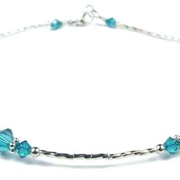 Handmade Sterling Silver Beaded Ankle Bracelets  | Birthstone Blue Zircon December