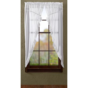 White Ruffled Sheer Prairie Curtains