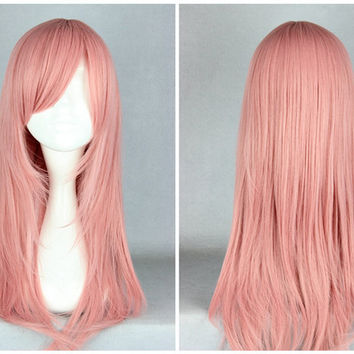 Promotion Hitman Reborn Bianchi 55cm Long Pink Cute Synthetic Wig,Colorful Candy Colored synthetic Hair Extension Hair piece 1pcs WIG-351A