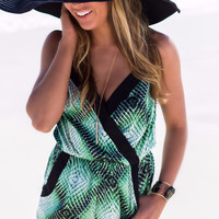Green With Envy Green And Black Aztec Print Romper