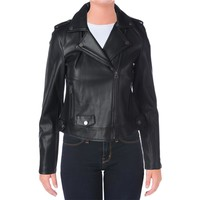 Lucky Brand Womens Faux Leather Bonded Motorcycle Jacket