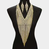 "20"" gold crystal bib collar choker necklace 4.25"" earrings body chain bridal"