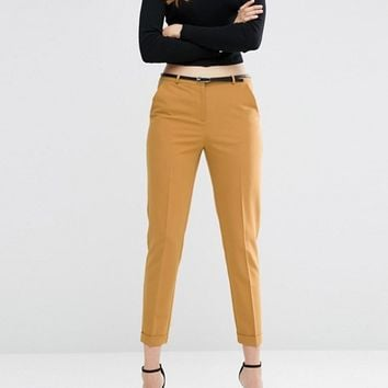 ASOS Cigarette Pants with Belt at asos.com