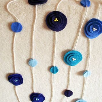 Garland Blue felt poppy flowers bunting Home decor nursery wall art