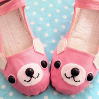 Bear Shoes  Pink Happy Animal Mary Janes  Adult by emandsprout
