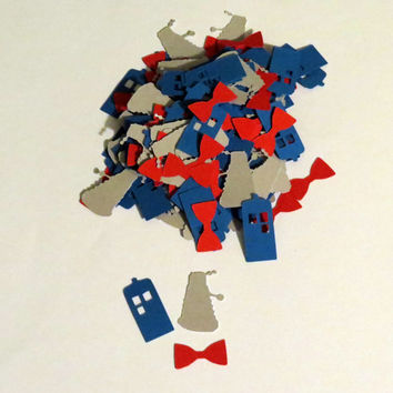 Doctor Who Confetti - tardis, dalek, and bowties - 100 pieces