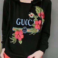 """Gucci"" Women Fashion Casual Letter Embroidery Flower Long Sleeve Hooded Sweater Tops"