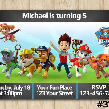 ON SALE Paw Patrol Birthday Invitation Party