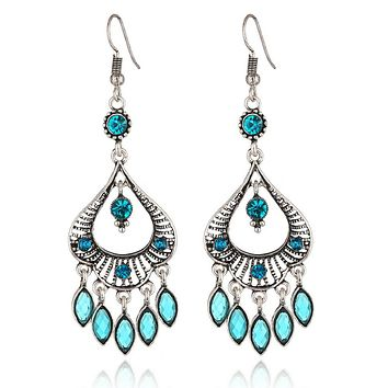 Blue Turquoise and Silver Boho Chandelier Earrings