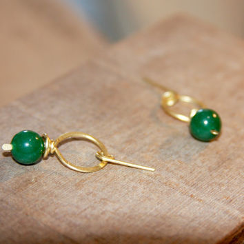 Hoop Dangle Stud Earrings, Green studs, Green Jade Stud Earrings, Handmade Hoop Earrings, Gifts for Her, Brass Earrings