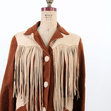 1940s Fringe Leather Jacket / Vintage Cherokee Togs Jacket
