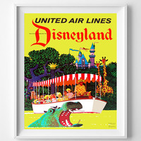 Vintage Disneyland, Poster, Print, United Air Lines, Fantasyland, Tomorrowland, Disney, Reproduction, Restored, Restoration [No 1285]