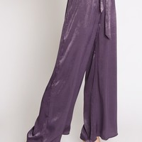 French Lavender Satin Palazzo Pants | Ruche
