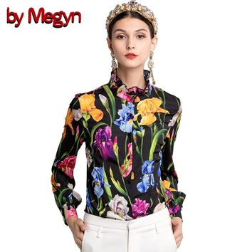 by Megyn ladies tops and blouses woman ruffles stand neck long lantern sleeve floral print shirt plus size 3xl blouse femme