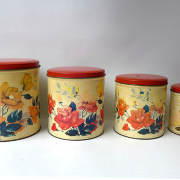Vintage mid century set of Willow metal shabby yellow and red rose kitchen canisters