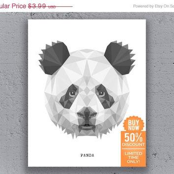 Panda Print Printable Poster Geometric Typography Print Black White Wildlife Animal Art Retro Art Print Instant Download Digital Print
