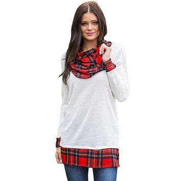 White Autumn Wind Plaid Cowl Neck Tunic