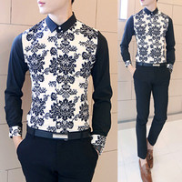 Geometric Print Long Sleeve Collared Shirt