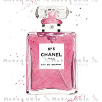 CHANEL nº 5 PARFUM WATERCOLOR pink bottle. Chanel n.5 original handame.Glamour wall art print Chanel rose perfume Modern Fashion Room Decor