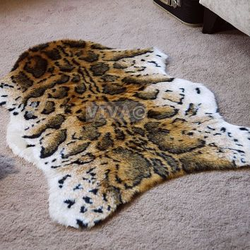 Snow Leopard Animal Print Faux Fur Single Shape Sheepskin Style Rug Washable Mat