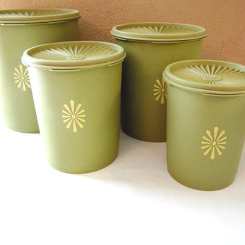 Avocado Green Tupperware Canister Storage Containers Lids 4 pc set
