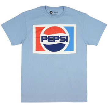 Pepsi Shirt - Licensed Classic Vintage 80's Logo Light Blue Short Sleeve Men's T-shirt
