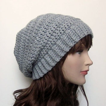 Silver Gray Slouchy Crochet Hat - Womens Slouch Beanie - Oversized Ribbed Cap - Fall Winter Fashion Accessories