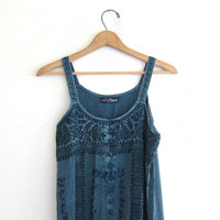 Vintage Gypsy Dress. Embroidered Indian Dress. Mini Dress. Blue Hippie Boho Sun Dress.